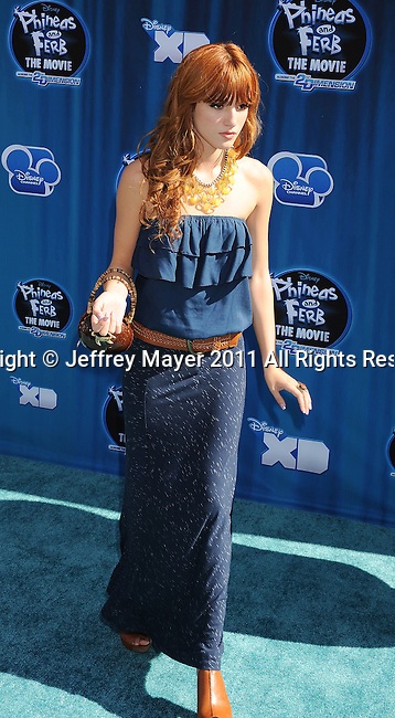 """HOLLYWOOD, CA - AUGUST 03: Bella Thorne arrives at the premiere of """"Phineas and Ferb: Across The 2nd Dimension"""" at the El Capitan Theatre on August 3, 2011 in Hollywood, California."""