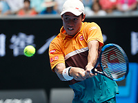15th January 2019, Melbourne Park, Melbourne, Australia; Australian Open Tennis, day 2; Kei Nishikori of Japan returns the ball during a match against Kamil Majchrzak of Poland