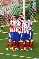 Atletico de Madrid´s players celebrate a goal during Champions League soccer match between Atletico de Madrid and Malmo at Vicente Calderon stadium in Madrid, Spain. October 22, 2014. (ALTERPHOTOS/Victor Blanco)