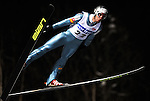 PRIMOZ PETERKA of Slovenia soars through the air during the FIS World Cup Ski Jumping in Sapporo, northern Japan in February, 2008.