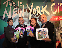 ***NO FEE PIC***.28/01/2011.Jane O' Loughlin.John Donohue,.Leslie Platt.Tom Travers .at the NYC & Company stall as part of the USA stalls during the Holiday World Show in the RDS which runs from Friday 28th Jan - Sunday 30th Jan, Dublin..Photo: Gareth Chaney Collins