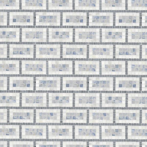 Triple Brick, a hand-cut stone mosaic,  shown in polished Calacatta Tia, Blue Macauba, Bardiglio.