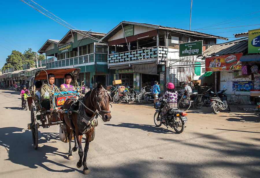 BAGAN, MYANMAR - CIRCA DECEMBER 2013: Street in the Nyaung U market close to Bagan in Myanmar