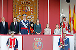 King Felipe VI of Spain, Queen Letizia of Spain, Princess Leonor of Spain and Princess Sofia of Spain attend Spain's National Day Military Parade. October 12 ,2014. (ALTERPHOTOS)