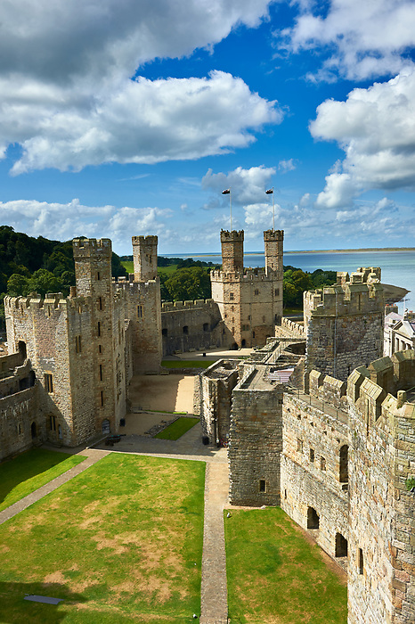 Caernarfon or Carnarvon Castle built in 1283 by King Edward I of England, Gwynedd, north-west Wales,