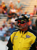 May 31, 2013; Englishtown, NJ, USA: NHRA official starter Mark Lyle during qualifying for the Summer Nationals at Raceway Park. Mandatory Credit: Mark J. Rebilas-