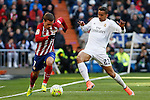 Real Madrid´s Danilo (R) and Atletico de Madrid´s Antoine Griezmann during 2015/16 La Liga match between Real Madrid and Atletico de Madrid at Santiago Bernabeu stadium in Madrid, Spain. February 27, 2016. (ALTERPHOTOS/Victor Blanco)
