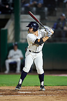 Tri-City Dust Devils Logan Driscoll (19) at bat during a Northwest League game against the Vancouver Canadians at Gesa Stadium on August 21, 2019 in Pasco, Washington. Vancouver defeated Tri-City 1-0. (Zachary Lucy/Four Seam Images)
