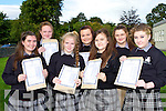 Killarney Community College students who were overjoyed when they received their Junior Cert on Wednesday morning front row l-r: Shannon Cambridge, Lauren O'Leary, Saoirse Kelly all Killarney, Fiona Nealon Ballyhar, Aisling Cronin Tiernaboul, Amy Duggan Kilcummin and Katie Mai Moloney Killarney