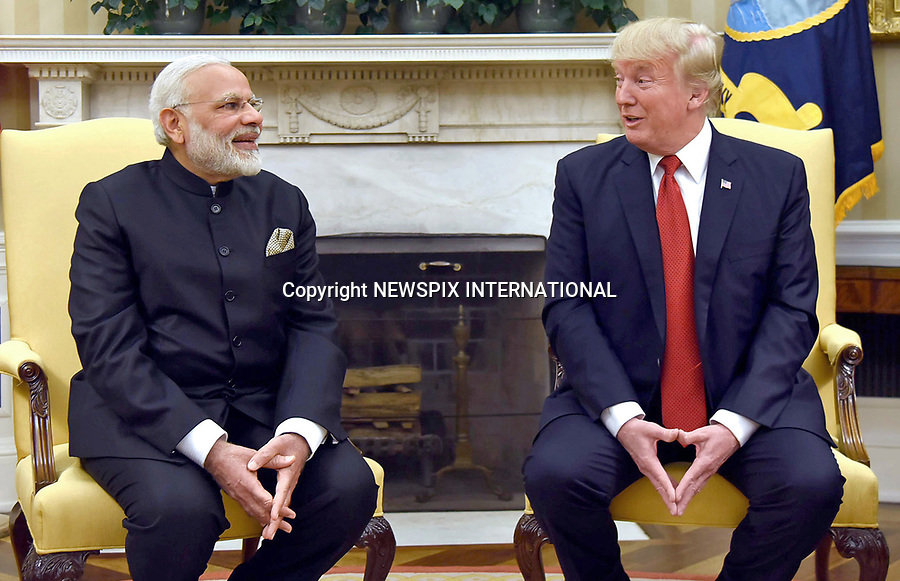 26.06.2017; Washington DC, USA: IS US PRESIDENT DONALD TRUMP HANDS GIVING OUT A SECRET MESSAGE?<br /> It appears that the meeting at the White House between the Indian Prime Minsiter Naraendra Modi and the US President was amicable.<br /> Mandatory Credit Photo: &copy;NEWSPIX INTERNATIONAL<br /> <br /> IMMEDIATE CONFIRMATION OF USAGE REQUIRED:<br /> Newspix International, 31 Chinnery Hill, Bishop's Stortford, ENGLAND CM23 3PS<br /> Tel:+441279 324672  ; Fax: +441279656877<br /> Mobile:  07775681153<br /> e-mail: info@newspixinternational.co.uk<br /> **All Fees Payable To Newspix International**