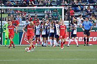 Portland, OR - Saturday July 22, 2017: Washington Spirit celebrate during a regular season National Women's Soccer League (NWSL) match between the Portland Thorns FC and the Washington Spirit at Providence Park.