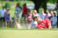 Bethesda, MD - June 26, 2016: John Rahm hits out of a sand bunker on the fourth hole during Final Round of play at the Quicken Loans National Tournament at the Congressional Country Club in Bethesda, MD, June 26, 2016. (Photo by Philip Peters/Media Images International)