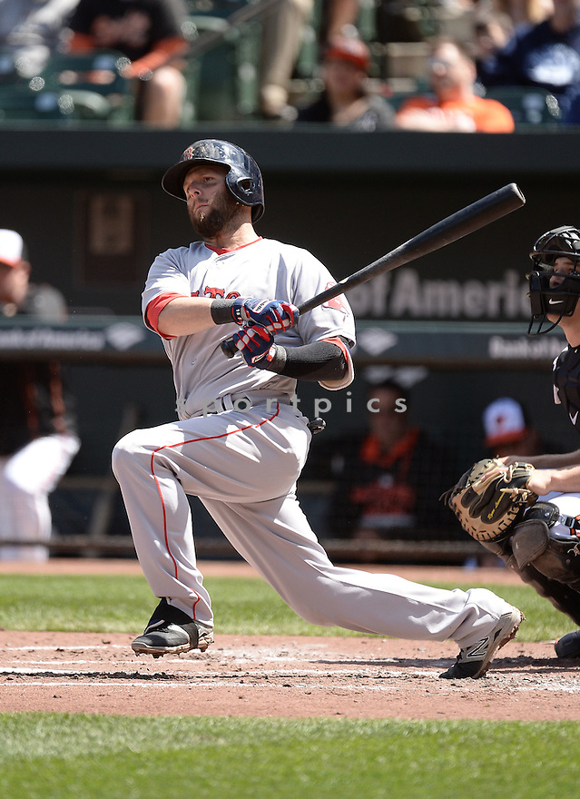 Boston Red Sox Dustin Pedroia (15) during a game against the Baltimore Orioles on April 26, 2015 at Oriole Park in Baltimore, MD. The Orioles beat the Red Sox 18-7.