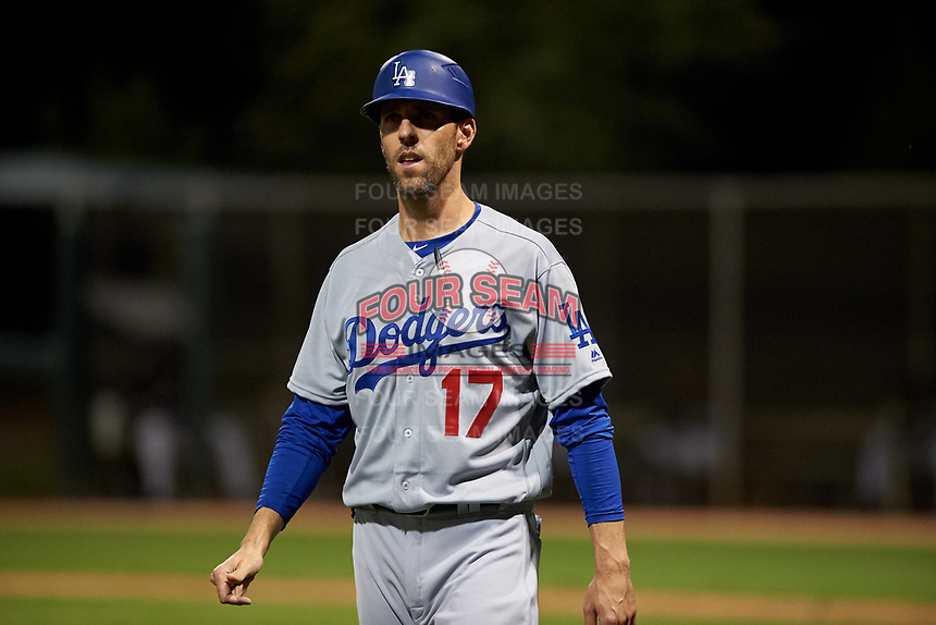AZL Dodgers Lasorda manager Danny Dorn (17) coaches third base during an Arizona League game against the AZL White Sox at Camelback Ranch on June 18, 2019 in Glendale, Arizona. AZL Dodgers Lasorda defeated AZL White Sox 7-3. (Zachary Lucy/Four Seam Images)