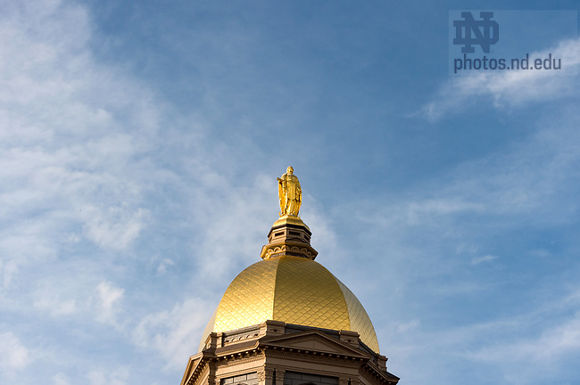 April 18, 2017; Statue of Mary atop the Golden Dome.  (Photo by Barbara Johnston/University of Notre Dame)
