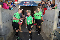Cary, North Carolina  - Saturday September 09, 2017: Match officials Aaron Gallagher, Karen Abt, Benjamin Wooten, and Jordan Davis prior to a regular season National Women's Soccer League (NWSL) match between the North Carolina Courage and the Houston Dash at Sahlen's Stadium at WakeMed Soccer Park. The Courage won the game 1-0.