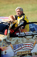 Sept. 5, 2010; Clermont, IN, USA; NHRA pro stock driver John Gaydosh during qualifying for the U.S. Nationals at O'Reilly Raceway Park at Indianapolis. Mandatory Credit: Mark J. Rebilas-