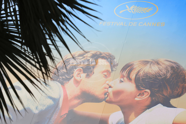 Ahead of the opening ceremony of the 71st edition of the Cannes Film Festival in Cannes, on May 8, 2018;  Poster of the 2018 edition