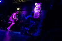 """Hio Hop-Abend """"Kon – fett – i"""" am Donnerstag den 24. August 2018 im Kreuzberger Club SO36 mit dem Rapper, Graf Fidi aus Berlin; der Berliner Gebaerden-Rapperin DKN; der Hip-Hop-Kuenstlerin Finna aus Hamburg und dem DJ Team """"Skips and Breaks"""". Die Liveauftritte wurden von Gebaerdendolmetscherinnen uebersetzt.<br /> Ziel der Veranstaltung war es, Kuenstlerinnen und Kuenstler und DJs mit und ohne Behinderung gleichberechtigt eine Buehne zu bieten. Unterstuetzt wurde die Veranstaltung vom Music Board Berlin.<br /> 24.8.2018, Berlin<br /> Copyright: Christian-Ditsch.de<br /> [Inhaltsveraendernde Manipulation des Fotos nur nach ausdruecklicher Genehmigung des Fotografen. Vereinbarungen ueber Abtretung von Persoenlichkeitsrechten/Model Release der abgebildeten Person/Personen liegen nicht vor. NO MODEL RELEASE! Nur fuer Redaktionelle Zwecke. Don't publish without copyright Christian-Ditsch.de, Veroeffentlichung nur mit Fotografennennung, sowie gegen Honorar, MwSt. und Beleg. Konto: I N G - D i B a, IBAN DE58500105175400192269, BIC INGDDEFFXXX, Kontakt: post@christian-ditsch.de<br /> Bei der Bearbeitung der Dateiinformationen darf die Urheberkennzeichnung in den EXIF- und  IPTC-Daten nicht entfernt werden, diese sind in digitalen Medien nach §95c UrhG rechtlich geschuetzt. Der Urhebervermerk wird gemaess §13 UrhG verlangt.]"""