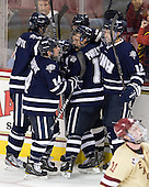 Trevor van Riemsdyk (UNH - 6), Mike Borisenok (UNH - 14), Scott Pavelski (UNH - 11), Justin Agosta (UNH - 12) - The Boston College Eagles defeated the visiting University of New Hampshire Wildcats 4-3 on Friday, January 27, 2012, in the first game of a back-to-back home and home at Kelley Rink/Conte Forum in Chestnut Hill, Massachusetts.