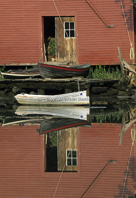 Boats at an old boathouse in Robinhood Cove,  Georgetown, Maine, USA