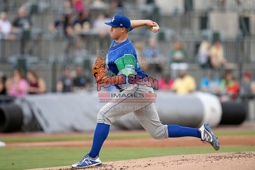 Starting pitcher Jonathan Bowlan (35) of the Lexington Legends delivers a pitch in a game against Columbia Fireflies on Thursday, June 13, 2019, at Segra Park in Columbia, South Carolina. Lexington won, 10-5. (Tom Priddy/Four Seam Images)