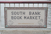 Sign for the South Bank Book Market, located on the South Bank, London, England