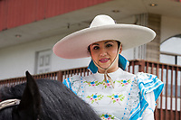 Portrait of woman wearing sombrero Hat, Kent Cornucopia Days, Kent, Washington State, WA, USA.