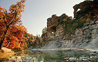 Bluffs of Pinnacles park and stream in afternoon light near Columbia Missouri in fall