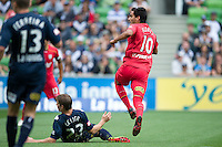 MELBOURNE, AUSTRALIA - JANUARY 09:  Marcos Flores of United kicks to score a goal during the round 22 A-League match between the Melbourne Victory and Adelaide United at AAMI Park on January 9, 2011 in Melbourne, Australia. (Photo by Sydney Low / Asterisk Images)