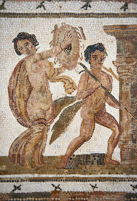 Picture of a Roman mosaics design depicting  a Bacchante, follower of Bacchus, and a Satyr, from the ancient Roman city of Thysdrus. 3rd century AD House of Tertulla. El Djem Archaeological Museum, El Djem, Tunisia.