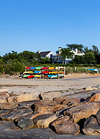 Kyaks at Paine's Creek Beach, Brewster, Cape Cod, Massachusetts, USA.