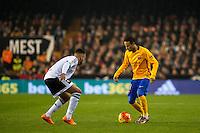 VALENCIA, SPAIN - DECEMBER 5: Ruben Vezo, Neymar Jr. during BBVA LEAGUE match between Valencia C.F. and FC Barcelona at Mestalla Stadium on December 5, 2015 in Valencia, Spain