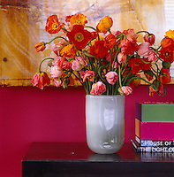 Detail of a vase of poppies against a pink wall