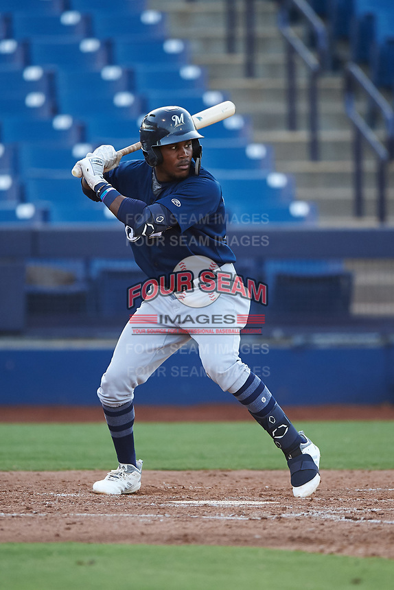 AZL Brewers Blue Arbert Cipion (23) at bat during an Arizona League game against the AZL Brewers Gold on July 13, 2019 at American Family Fields of Phoenix in Phoenix, Arizona. The AZL Brewers Blue defeated the AZL Brewers Gold 6-0. (Zachary Lucy/Four Seam Images)