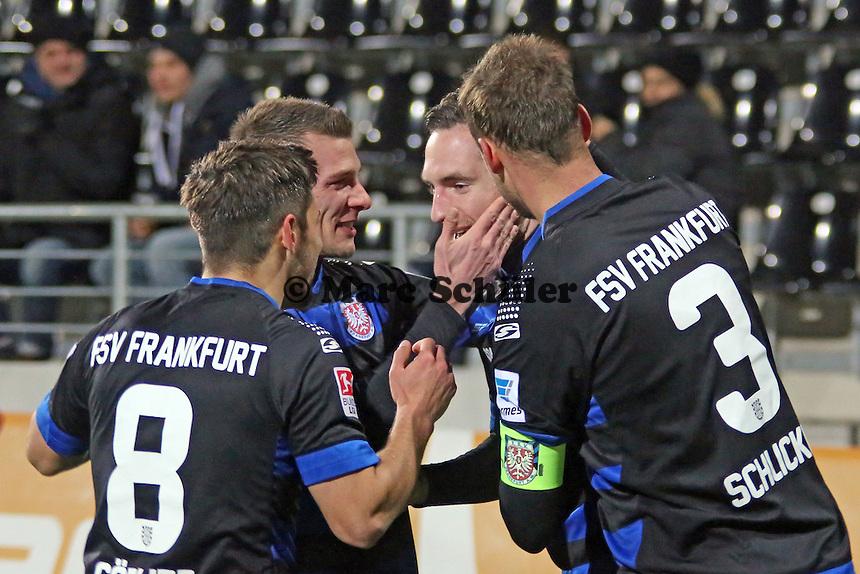 Torjubel um Markus Ziereis (FSV) beim 1:0 - FSV Frankfurt vs. Arminia Bielefeld, Frankfurter Volksbank Stadion
