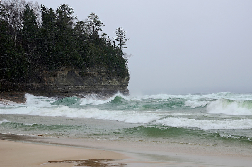 Large waves, remnants of Hurricane Sandy, crashing into the shoreline at Miners Beach. Munising, MI - Pictured Rocks National Lakeshore