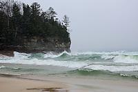 Large waves, remnants of Hurricane Sandy, crashing into the shoreline at Miners Beach. Munising, MI - Pictured Rocks National Lakeshore