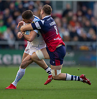Exeter Chiefs' Ollie Devoto is tackled by Bristol Bears' Nick Haining<br /> <br /> Photographer Bob Bradford/CameraSport<br /> <br /> Gallagher Premiership Round 7 - Bristol Bears v Exeter Chiefs - Sunday 18th November 2018 - Ashton Gate - Bristol<br /> <br /> World Copyright &copy; 2018 CameraSport. All rights reserved. 43 Linden Ave. Countesthorpe. Leicester. England. LE8 5PG - Tel: +44 (0) 116 277 4147 - admin@camerasport.com - www.camerasport.com