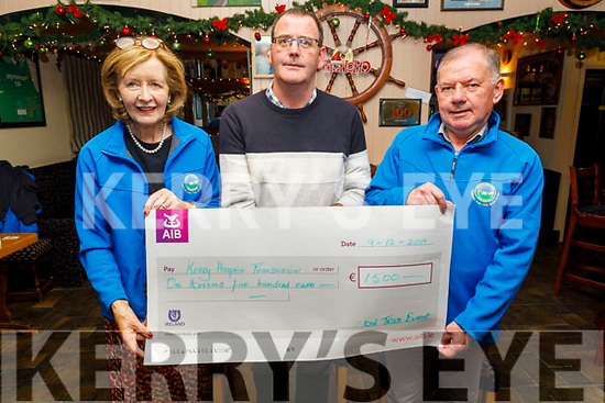 The West End Bar in Fenit present the sum of €1,500 to   the Kerry Hospice Palliative Care on Monday night.<br /> Front l to r: Marie McSwiney (Kerry Hospice), Brian O'Keeffe (West End Bar) and Joe Hennerbry (Palliative Care)