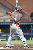 Bowling Green Falcons outfielder R.J. Williams (1) at bat against the Michigan Wolverines on April 6, 2016 at Ray Fisher Stadium in Ann Arbor, Michigan. Michigan defeated Bowling Green 5-0. (Andrew Woolley/Four Seam Images)