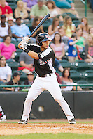 Evan Van Hoosier (17) of the Hickory Crawdads at bat against the Charleston RiverDogs at L.P. Frans Stadium on May 25, 2014 in Hickory, North Carolina.  The RiverDogs defeated the Crawdads 17-10.  (Brian Westerholt/Four Seam Images)