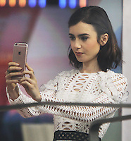 NEW YORK, NY November 16:Lily Collins at Today Show to talk about her new movie Rules Don't Apply  in New York City.November 16, 2016. Credit:RW/MediaPunch