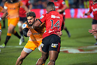 Jaguares' Ramiro Moyano tackles Crusaders' Sevu Reece during the 2019 Super Rugby final between the Crusaders and Jaguares at Orangetheory Stadium in Christchurch, New Zealand on Saturday, 6 July 2019. Photo: Dave Lintott / lintottphoto.co.nz