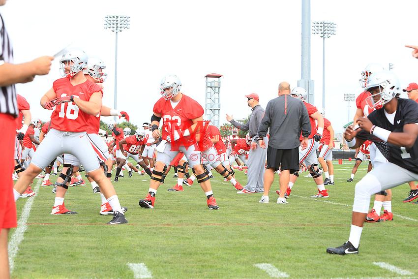The Ohio State University football team first full team practice of the 2016 season.