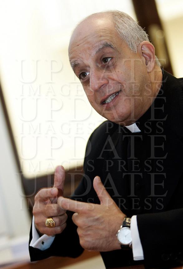 Monsignor Rino Fisichella durante l'intervista nel suo ufficio a Roma, 5 novembre 2010..UPDATE IMAGES PRESS/Riccardo De Luca