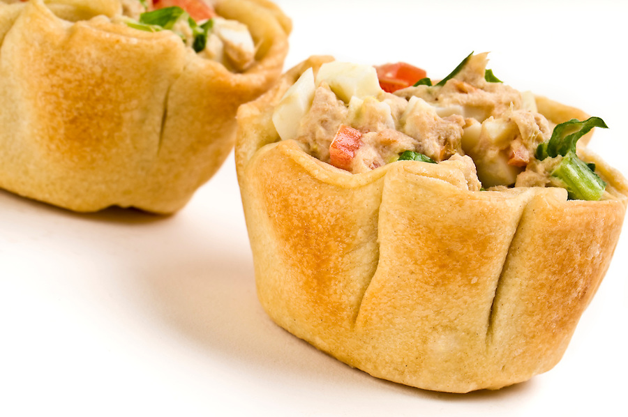 Homemade mini quiche of tuna and vegetables.