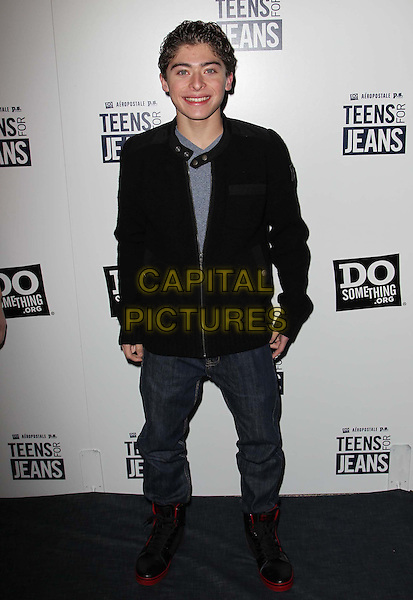 "Ryan Ochoa.Aeropostale, Inc. And DoSomething.org's 6th Annual ""Teens For Jeans"" Campaign Event Held at Palihouse, West Hollywood, California, USA..January 8th, 2013.full length black jacket jeans denim boots .CAP/ADM/FS.©Faye Sadou/AdMedia/Capital Pictures."