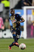 Raymon Gaddis (28) of the Philadelphia Union passes the ball. The Philadelphia Union defeated Toronto FC 1-0 during a Major League Soccer (MLS) match at PPL Park in Chester, PA, on October 5, 2013.