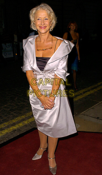 """DAME HELEN MIRREN.""""The Queen"""" UK premiere, Curzon Mayfair, London, UK..September 13th, 2006.Ref: CAN.full length silver satin skirt jacket clutch purse .www.capitalpictures.com.sales@capitalpictures.com.©Can Nguyen/Capital Pictures"""